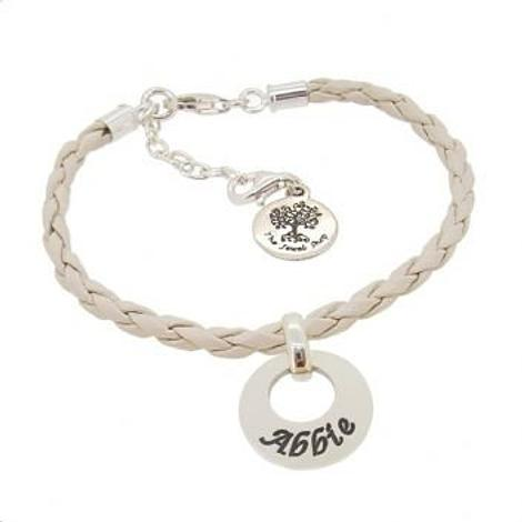 PERSONALISED STERLING SILVER 15mm CIRCLE OF LIFE CHARM LEATHER BRACELET
