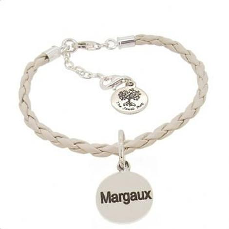 PERSONALISED STERLING SILVER 16mm COIN CHARM LEATHER BRACELET