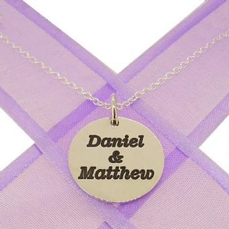 19mm ROUND PERSONALISED NAME MESSAGE COIN PENDANT NECKLACE