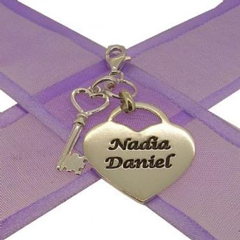 PERSONALISED KEY TO MY HEART NAME CLIP ON CHARM
