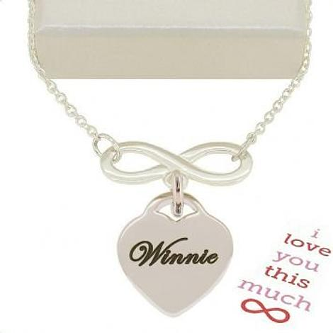 STERLING SILVER 23mm INFINITY SYMBOL DESIGN HEART CHARM NECKLACE