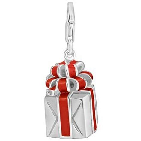 PASTICHE STERLING SILVER 12.5mm x 19mm PRESENT WITH RED ENAMEL BOW HOOKED ON CLIP CHARM PENDANT QC185RD