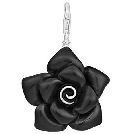 PASTICHE STERLING SILVER 31mm BLACK ROSE HOOKED ON CLIP CHARM QC124BK
