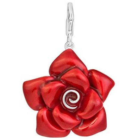 PASTICHE STERLING SILVER 31mm RED ROSE HOOKED ON CLIP CHARM QC124RD