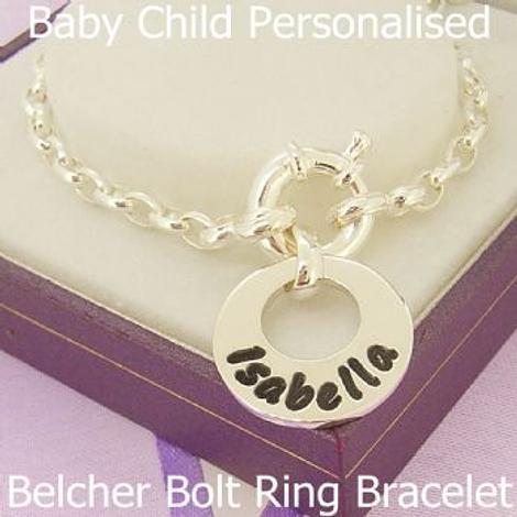 15mm BABY CHILD CIRCLE OF LIFE PERSONALISED FAMILY NAME PENDANT BELCHER BOLT RING BRACELET