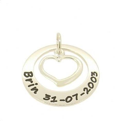 27mm CIRCLE OF LIFE GUARDIAN OPEN LOVE HEART PERSONALISED NAME PENDANT