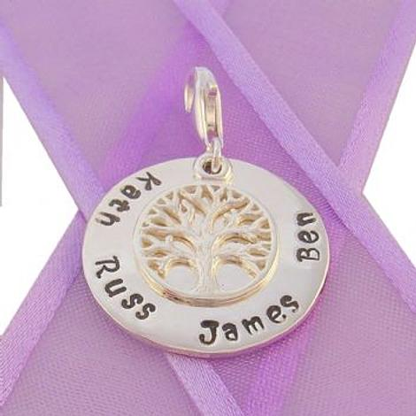 23mm ROUND PERSONALISED CIRCLE TREE OF LIFE NAME PENDANT -CH-23mm-KB52-SS