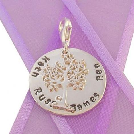 23mm ROUND PERSONALISED TREE OF LIFE NAME PENDANT -CH-23mm-KB60-SS