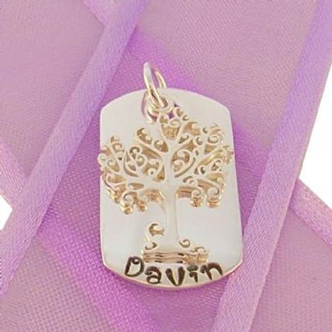 14mm x 25mm DOG TAG PERSONALISED TREE OF LIFE NAME PENDANT