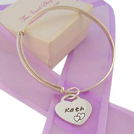 16mm PERSONALISED HEART CHARM 40-58mm EXPANDABLE 3mm BANGLE