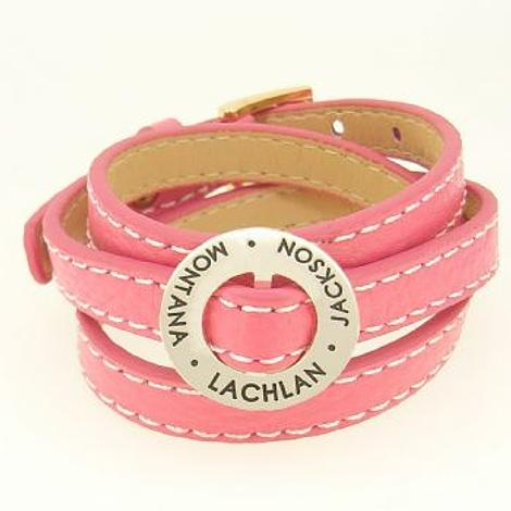 22mm CIRCLE OF LIFE PERSONALISED NAME PENDANT TRIPLE LEATHER CUFF BRACELET