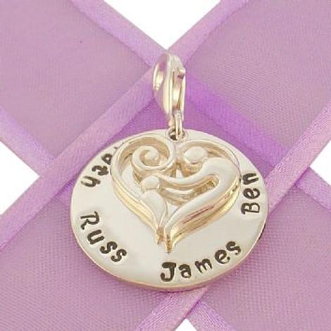 23mm ROUND PERSONALISED MOTHER BABY HEART NAME PENDANT -CH-23mm-KB47-SS