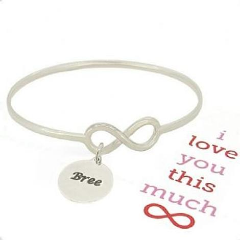 STERLING SILVER NEVER ENDING LOVE INFINITY SYMBOL DESIGN FOREVER BANGLE with 16mm COIN