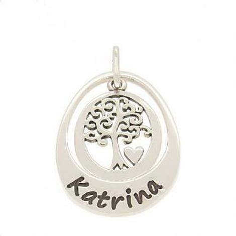 19mm SMALL OVAL PERSONALISED FAMILY TREE OF LIFE NAME PENDANT
