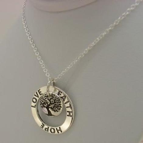 22mm FAITH HOPE LOVE CIRCLE TREE OF LIFE MESSAGE NECKLACE