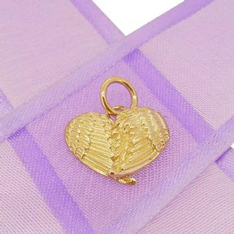 9CT GOLD ANGEL WINGS HEART CHARM PENDANT