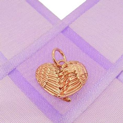 9CT ROSE GOLD ANGEL WINGS HEART CHARM PENDANT