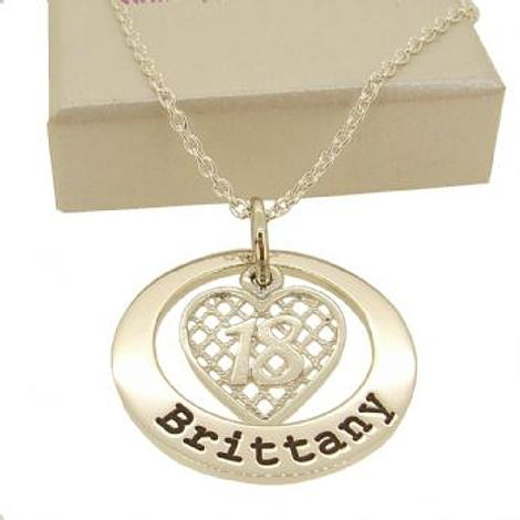 25mm CIRCLE OF LIFE PERSONALISED 18tH BIRTHDAY HEART NAME PENDANT CABLE NECKLACE