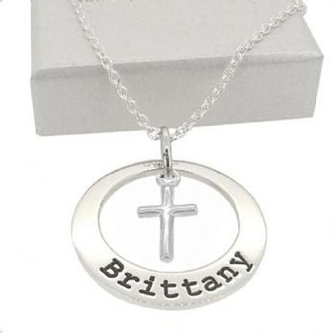 25mm CIRCLE OF LIFE PERSONALISED CROSS CHARM NAME PENDANT CABLE NECKLACE