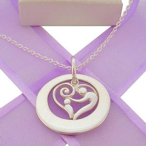 25mm CIRCLE OF LIFE PERSONALISED MOTHER BABY HEART NAME PENDANT CABLE NECKLACE -25mm-KB57-KB47-SS-CA40
