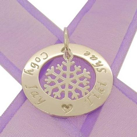 28mm CIRCLE OF LIFE PERSONALISED FAMILY NAME PENDANT & 15mm SNOWFLAKE CHARM -28mm-KB92-SS