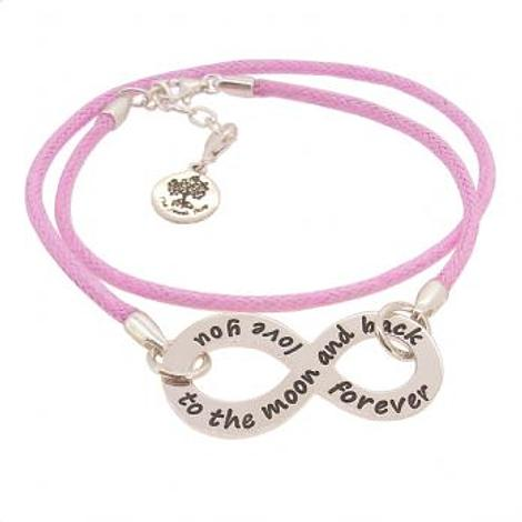 PERSONALISED STERLING SILVER INFINITY CHARM CORD BRACELET