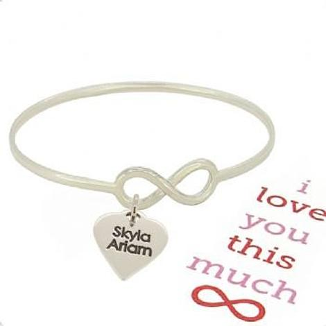 STERLING SILVER NEVER ENDING LOVE INFINITY SYMBOL DESIGN FOREVER BANGLE with LOVE HEART