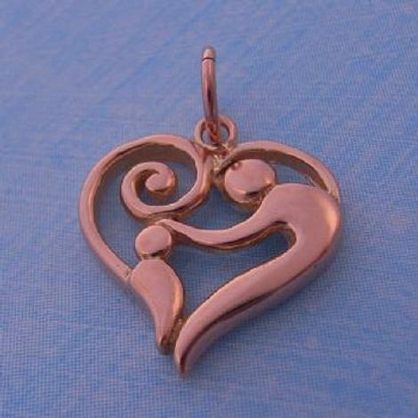 SOLID 16mm 9CT ROSE GOLD MOTHER BABY CHILD CHARM PENDANT - 9R_HRKB78