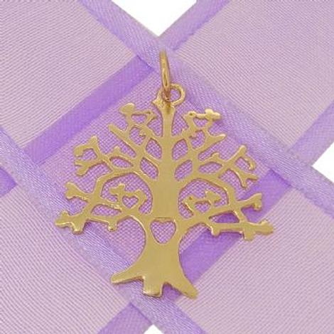 SOLID 9CT YELLOW GOLD 24mm x 27mm TREE OF LIFE CHARM PENDANT - 9Y_HRKB85