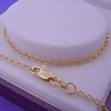 25CM ANKLET CHAIN 9CT GOLD 1.5mm CABLE TRACE LINK
