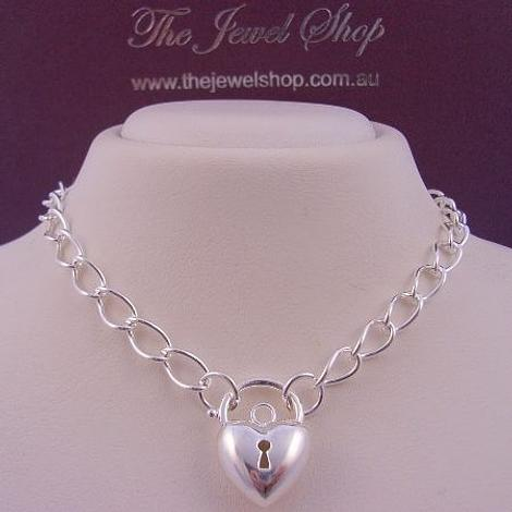 STERLING SILVER CURB PADLOCK HEART NECKLACE 45cm