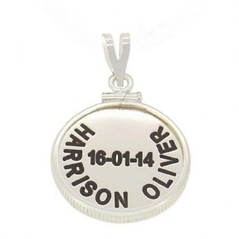 19mm COIN FRAME PERSONALISED NAME PENDANT -19mm-CF-SS