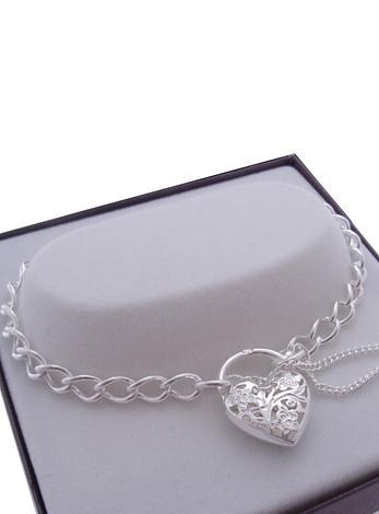 Sterling Silver Curb Filigree Padlock Bracelet