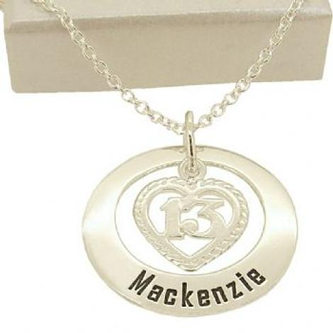 27mm CIRCLE OF LIFE 13th 13 BIRTHDAY HEART PERSONALISED NAME PENDANT NECKLACE