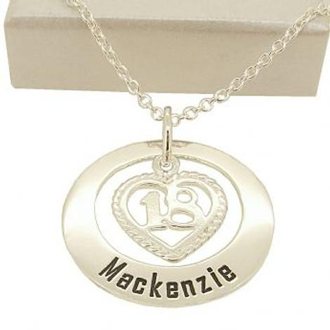 27mm CIRCLE OF LIFE 18th 18 BIRTHDAY HEART PERSONALISED NAME PENDANT NECKLACE