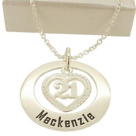 27mm CIRCLE OF LIFE 21st 21 BIRTHDAY HEART PERSONALISED NAME PENDANT NECKLACE