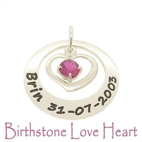 27mm CIRCLE OF LIFE BIRTHSTONE LOVE HEART PERSONALISED NAME PENDANT