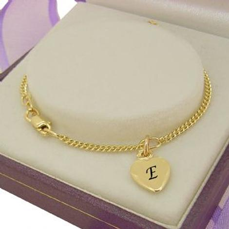 PERSONALISED 9CT GOLD 8mm HEART CHARM CURB BRACELET