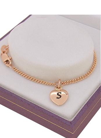PERSONALISED 9CT ROSE GOLD 8mm HEART CHARM CURB BRACELET