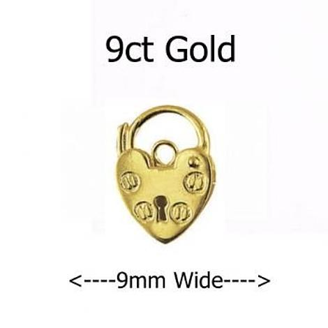 9CT YELLOW GOLD 9mm PLAIN HEART PADLOCK CLASP -FINDING_9CT_P9_9mm