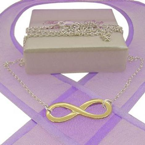 9CT GOLD INFINITY CHARM WITH STERLING SILVER NECKLACE