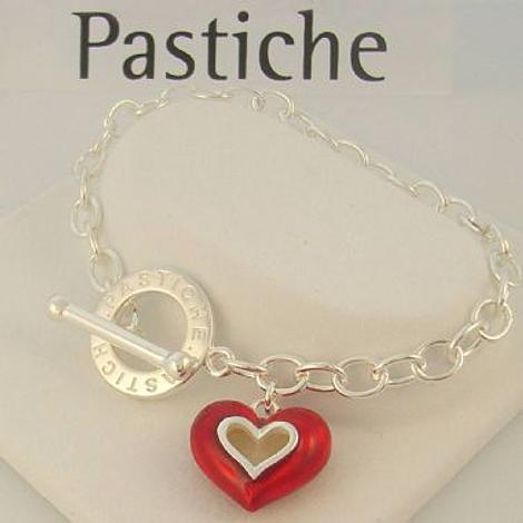 PASTICHE STERLING SILVER 5.5mm CABLE RED ENAMEL HEART TOGGLE CHARM BRACELET