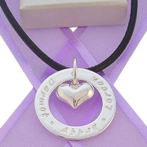 28mm CIRCLE OF LIFE PERSONALISED 14mm HEART CHARM NAME PENDANT NECKLACE -28mmFP136-14mmHEART-BLK