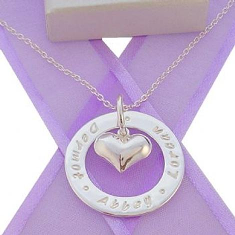 28mm CIRCLE OF LIFE PERSONALISED 14mm HEART CHARM NAME PENDANT NECKLACE -28mmFP136-14mmHEART-CA40