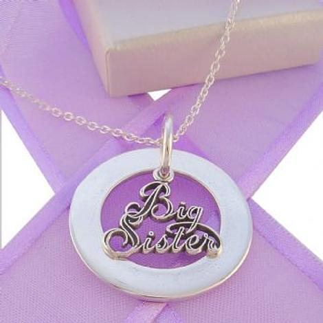 28mm CIRCLE OF LIFE PERSONALISED BIG SISTER CHARM NAME PENDANT NECKLACE -28mmFP136-TI-03048