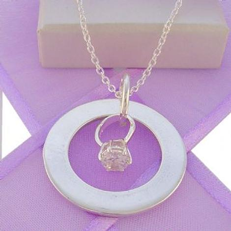 28mm CIRCLE OF LIFE PERSONALISED ENGAGEMENT RING CHARM NAME PENDANT NECKLACE -28mmFP136-925-110-988-44