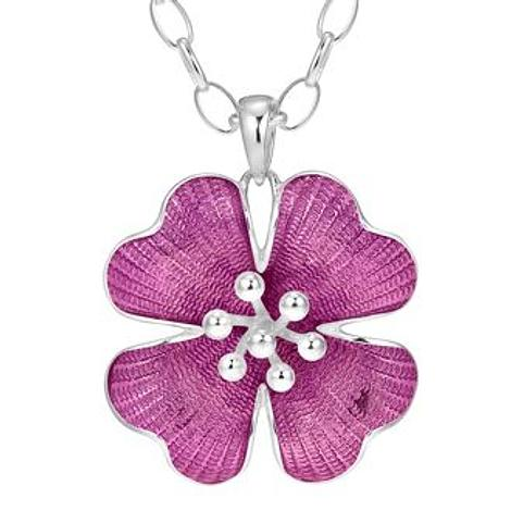 PASTICHE STERLING SILVER 33mm PINK ENAMEL FLOWER PENDANT NECKLACE