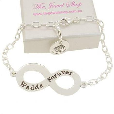 PERSONALISED STERLING SILVER 35mm INFINITY CHARM CABLE BRACELET