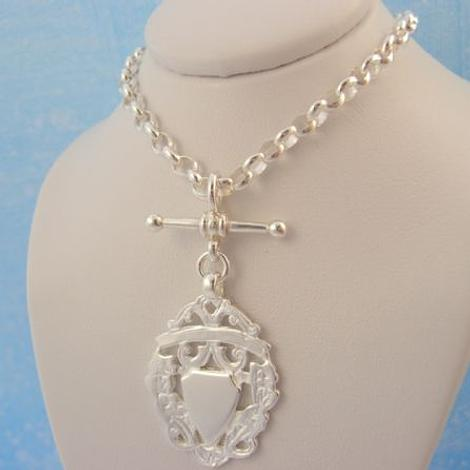 14g STERLING SILVER FOB CHAIN TBAR BELCHER SHIELD PENDANT CHARM NECKLACE