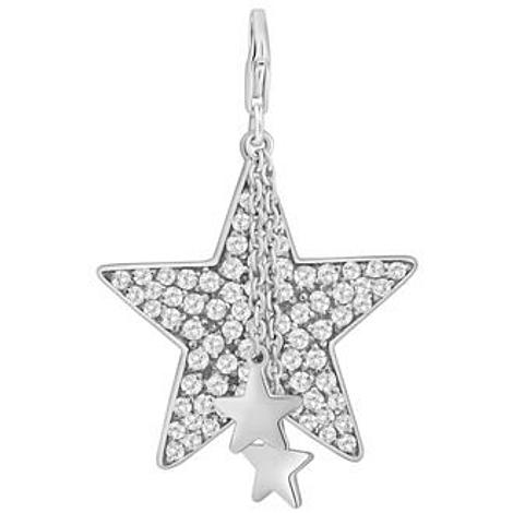 PASTICHE STERLING SILVER 32MM LARGE CZ STAR DROPS HOOKED ON CLIP CHARM PENDANT QC049CZ
